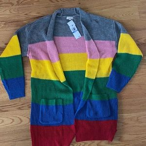 NWT Ultra Flirt Color Striped Open Cardigan (M)